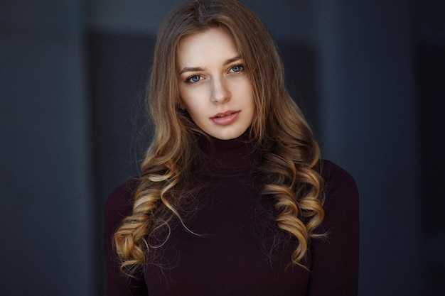 Girl in a maroon jacket