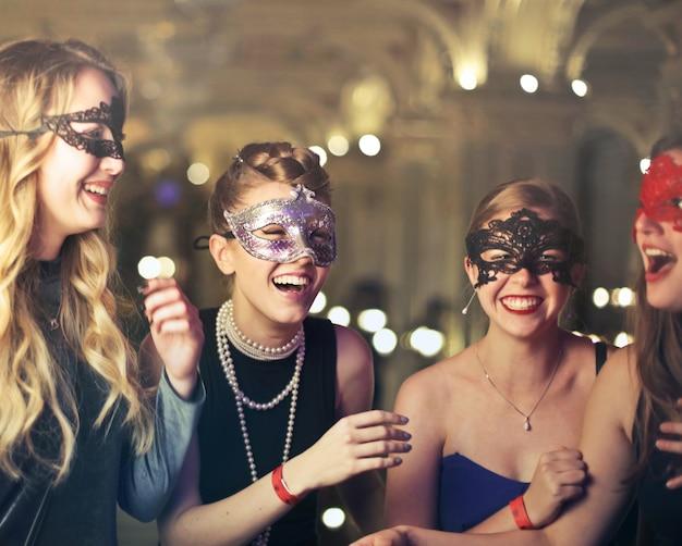 Girl at a masquerade ball