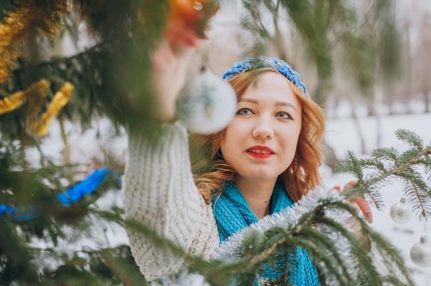 Girl near tree