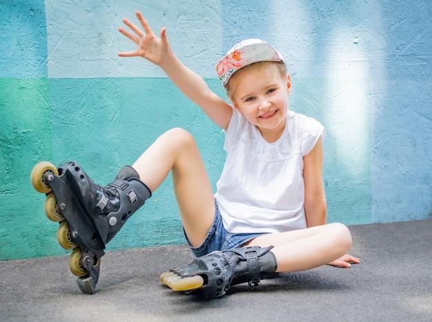 公園でローラースケートの女の子