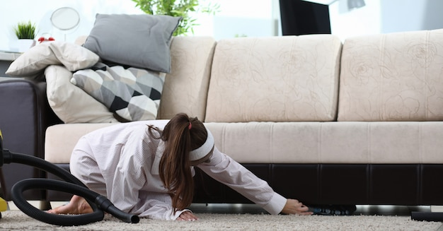 Girl organize stuff at home