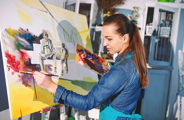 Girl in painting studio