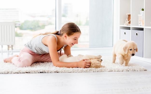 レトリバーの子犬と女の子