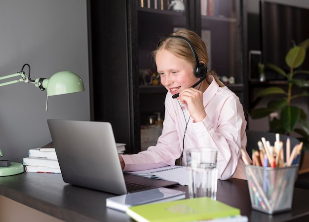 Girl participating in online class