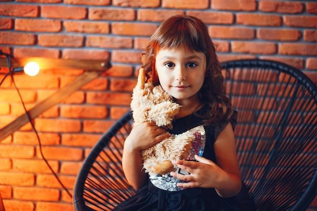 A girl in a photo studio