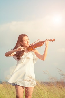 Girl playing fiddle