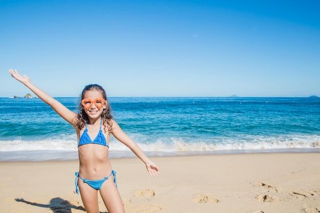 Girl playing on summer holidays