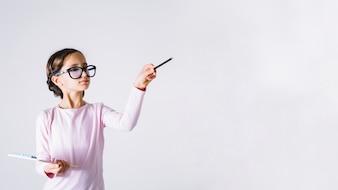 Girl playing teacher