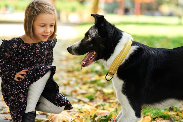 Girl playing with her dog on the fresh air