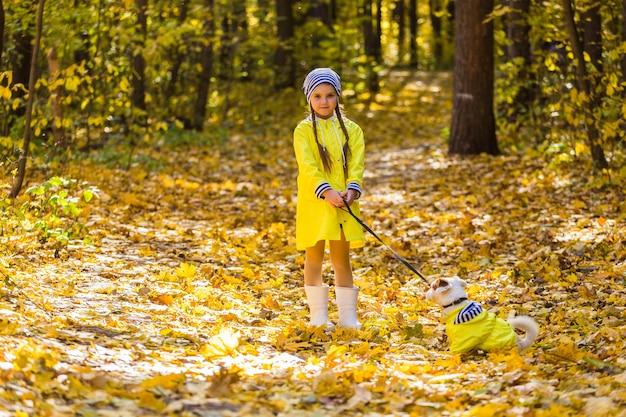 Девушка играет со своей собакой в осеннем лесу