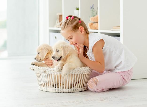 レトリーバーの子犬と遊ぶ女の子