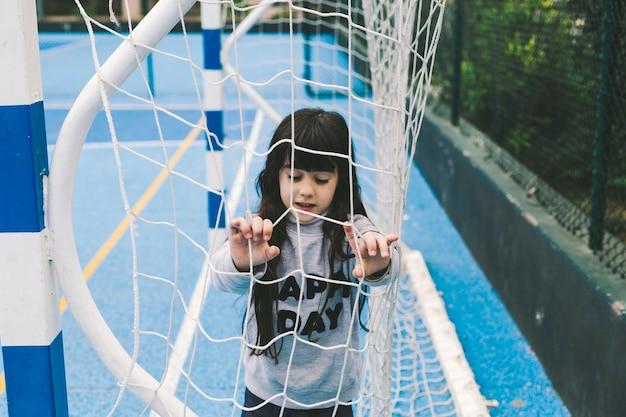女の子、サッカー、ネット