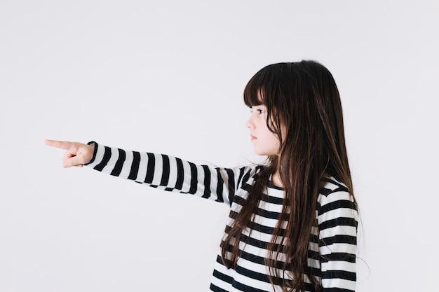 Girl pointing left