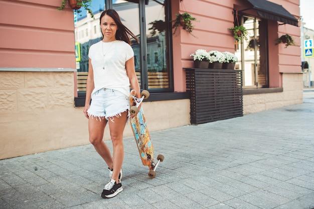 Girl posing with board