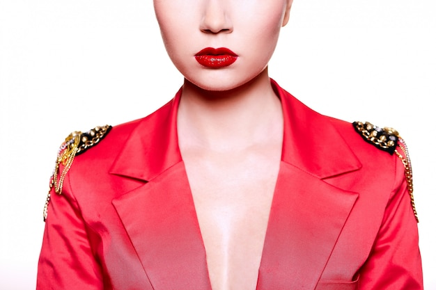 Girl posing with red jacket and lips