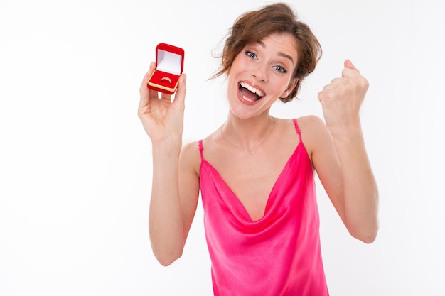Girl rejoices in a wedding ring