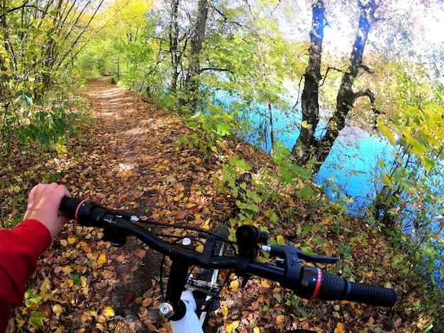 소녀는 숲을 통해 자전거를 탄다. 소녀는 숲에서 길을 따라 자전거를 탄다