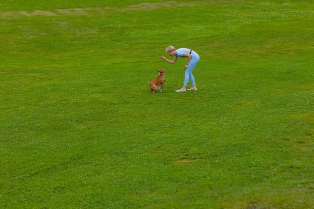 Девушка бегает с собакой в парке на лужайке на закате, выгуливает питомца на природе.