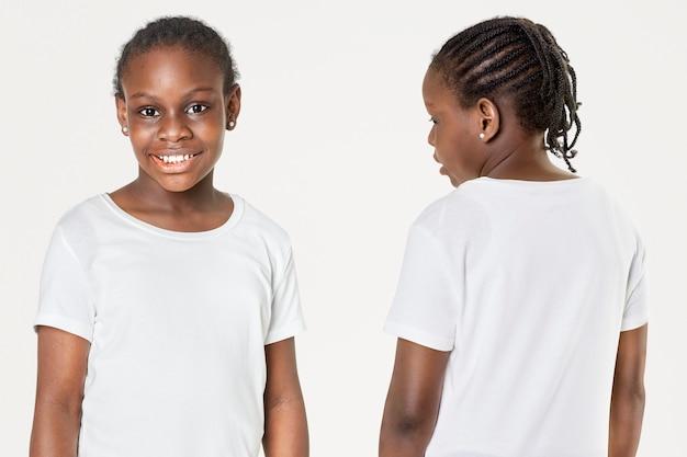 Ragazza casual in maglietta bianca davanti e dietro