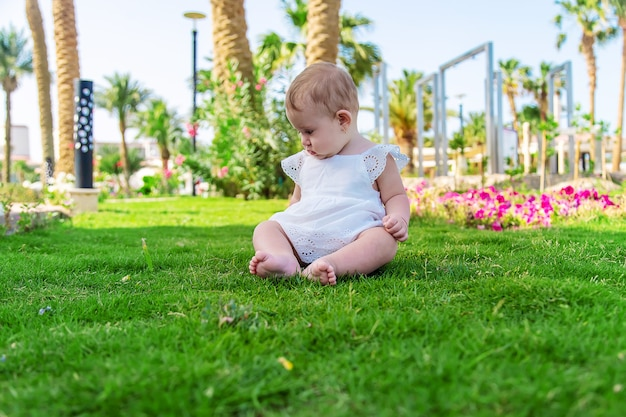 The girl's children are sitting under a palm tree