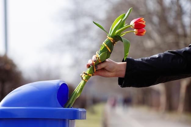 Рука девушки с маникюром выбрасывает в мусорную корзину букет свежих живых красных тюльпанов