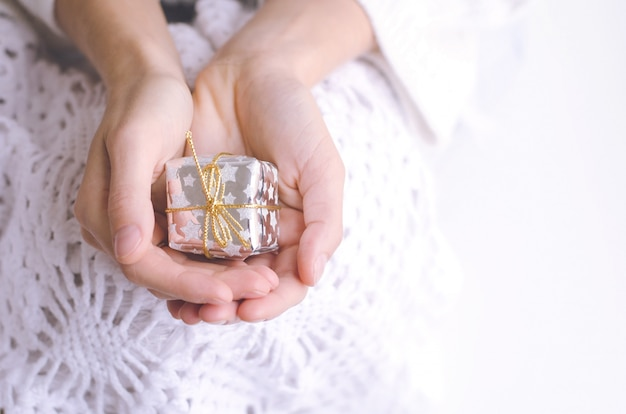 Girl's hands holding a silver christmas present with copyspace