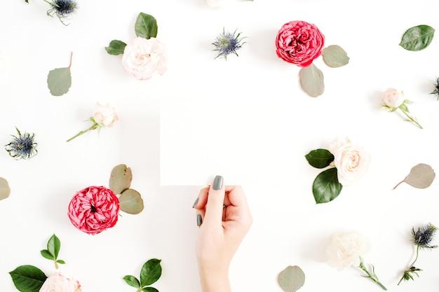 흰색에 빨간색과 베이지 색 장미 꽃 봉 오리와 꽃 프레임에 빈 종이와 여자의 손