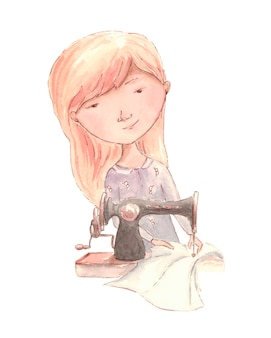 Girl sews a sewing machine. watercolor