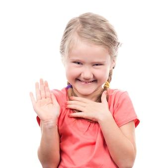 Девушка показывает руку вверх, изолированные на белом