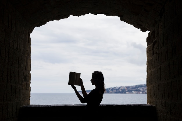 Girl silhouette with a book