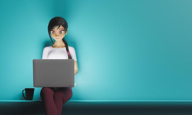 Девушка сидит с ноутбуком стилизованный 3d персонаж