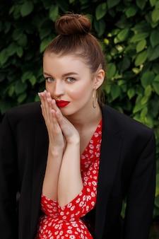 Girl sniffs her hands. spa