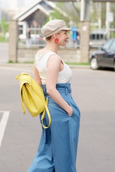 Girl in square hat