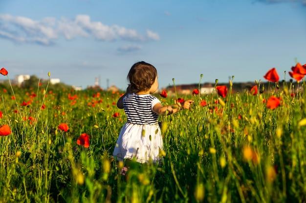 ポピー畑に腕を伸ばして立って自然を楽しむ女の子