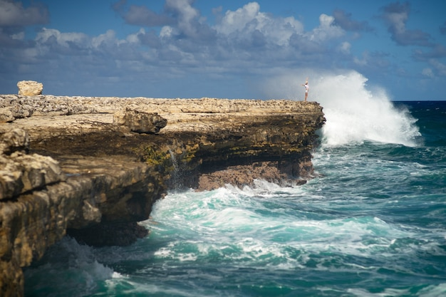 Девушка стоит на краю обрыва над морем с огромными волнами. понятие свободы власть.