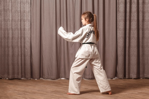 The girl stands in a fighting pose in front of a laptop