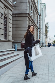 Girl on the street of a european city