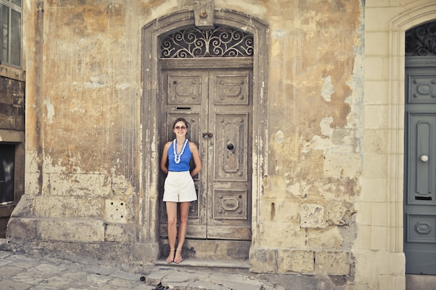 Girl in a street of valletta
