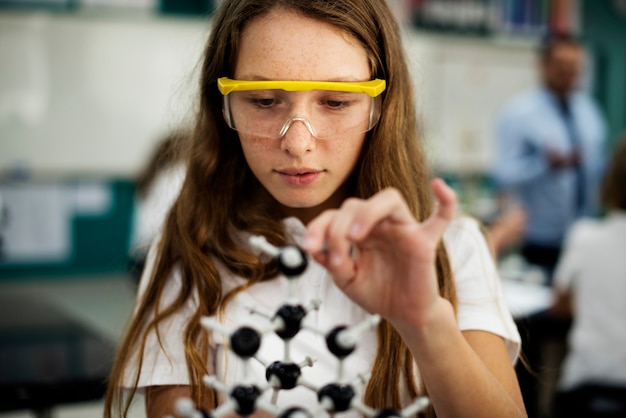 Girl student learning science
