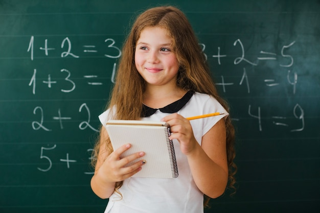 Girl student with notepad