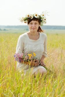 Girl   in summer field