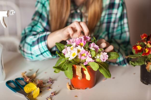 彼女の家の植物の世話をする少女クローズアップ