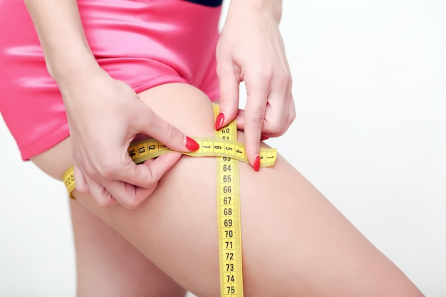The girl taking measurements of her body