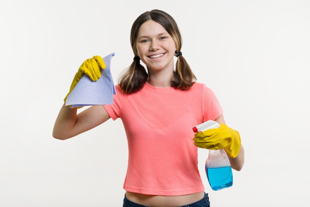 Girl teenager in protective gloves