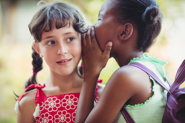 Girl telling a secret to her friend