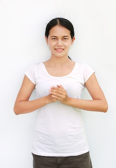 Girl thailand smile t-shirt chinese welcome expression reverence isolated white background