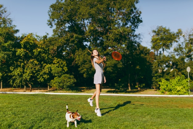 緑の草の上でそれを捕まえる小さな面白い犬にオレンジ色のフライングディスクを投げる女の子。公園で屋外で遊ぶリトルジャックラッセルテリアのペット。野外で犬と飼い主。動きの背景の動物。