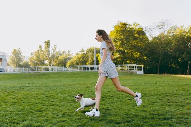 緑の草の上でそれを捕まえる小さな面白い犬にオレンジ色のフリスビーを投げる女の子。公園で屋外で遊ぶリトルジャックラッセルテリアのペット。野外で犬と飼い主。