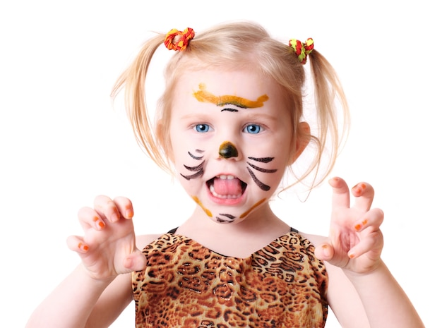 Girl in  tiger costume on  white space