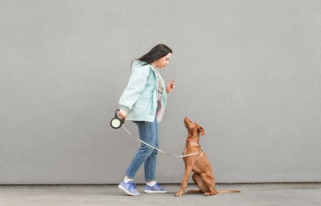Девушка тренирует красивую собаку у серой стены